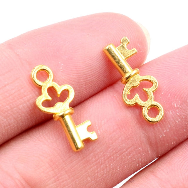Key Metal Charms, 17x7mm, Wholesale (50pcs)