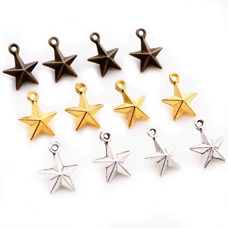 Star Metal Charms, 11x8mm, Wholesale (30pcs)