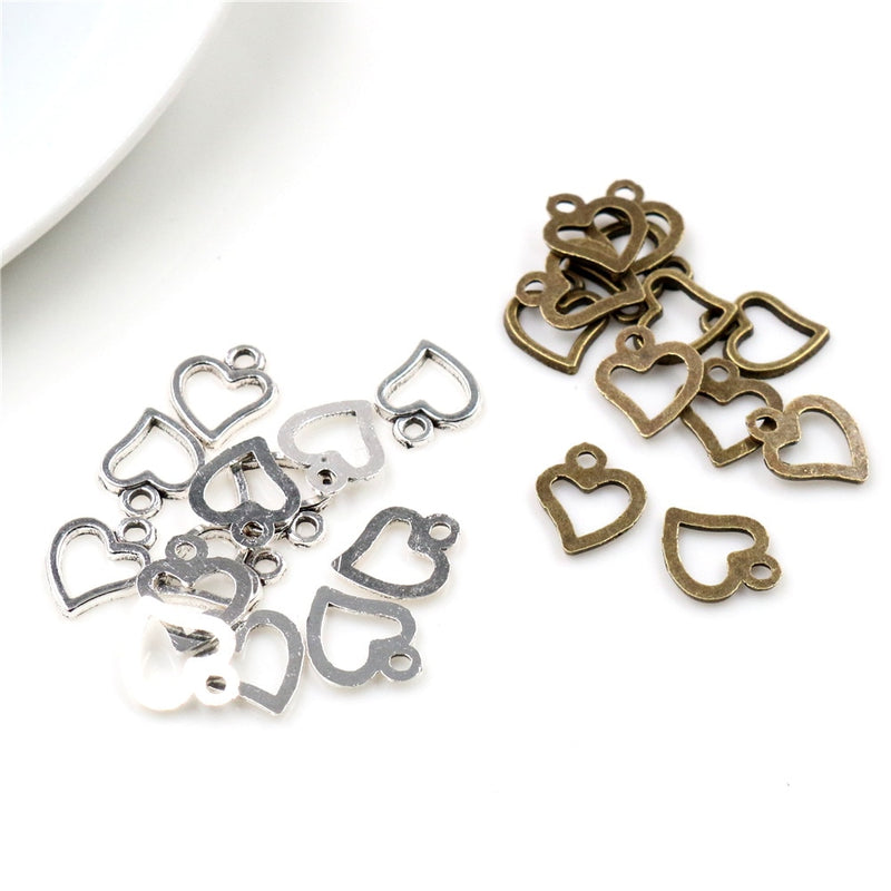 Heart Metal Charms, 10x8mm, Wholesale (50pcs)