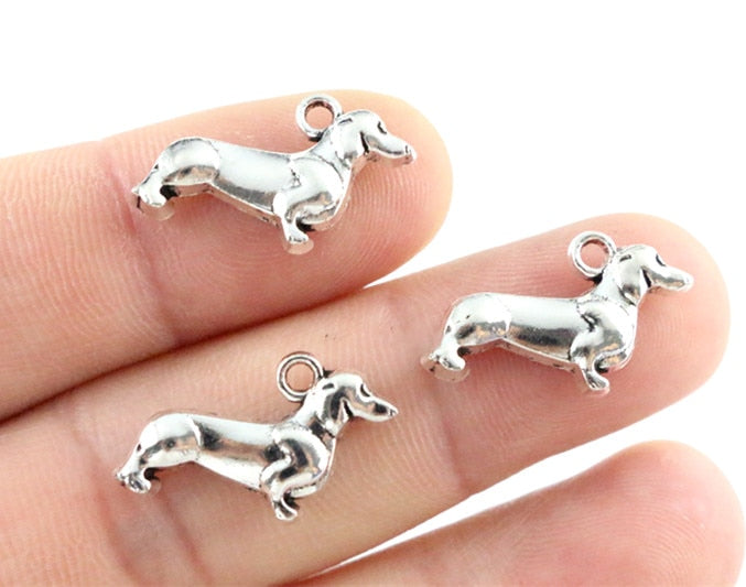 Dog Metal Charms, 22x13mm, Wholesale (30pcs)