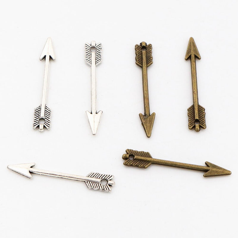 Arrow Metal Charms, 30x5mm, Wholesale (40pcs)