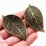 Leaf Metal Charms, 57x31mm, Wholesale (5pcs)