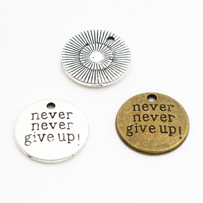 Never Give Up Metal Charms, 19x19mm, Wholesale (10pcs)