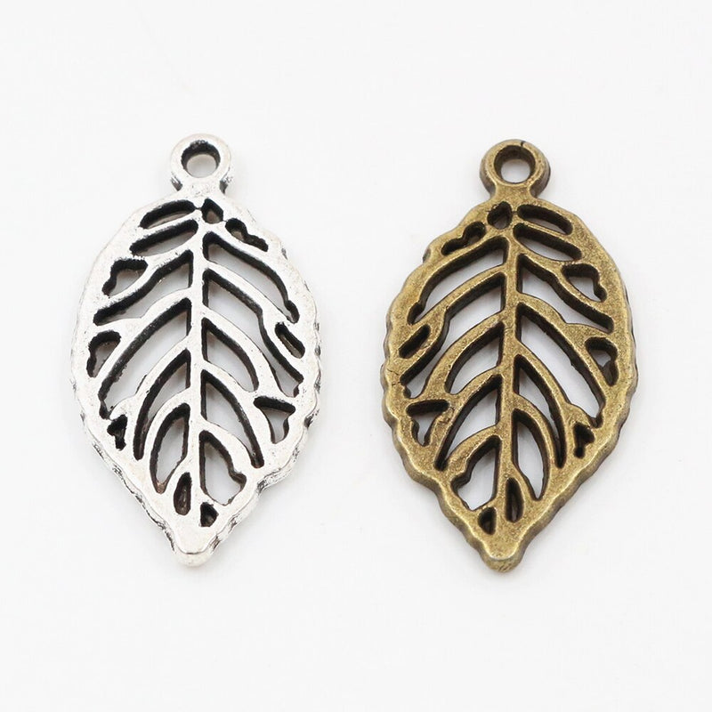 Leaf Metal Charms, 27x15mm, Wholesale (12pcs)