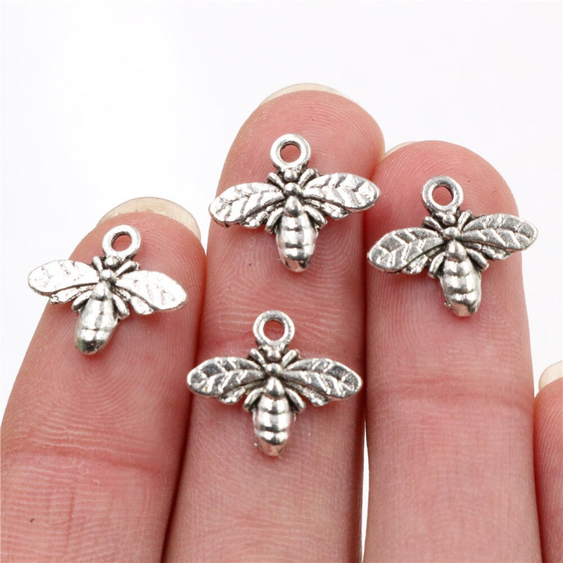 Bee Metal Charms, 17x14mm, Wholesale (40pcs)