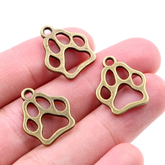 Pet Paw Print Metal Charms, 19x17mm, Wholesale (20pcs)