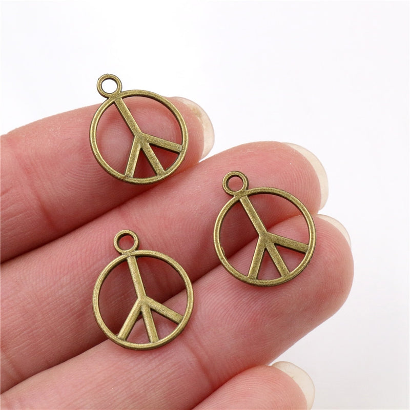 Peace Symbol Metal Charms, 17x14mm, Wholesale (40pcs)