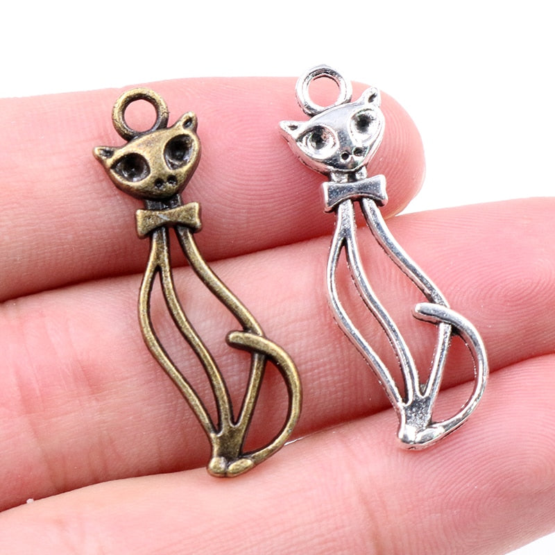 Cat Metal Charms, 34x10mm, Wholesale (15pcs)