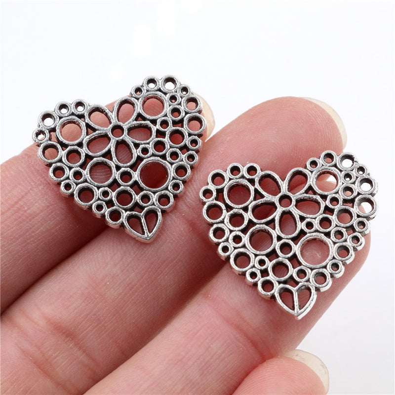 Heart Metal Charms, 25x23mm, Wholesale (15pcs)