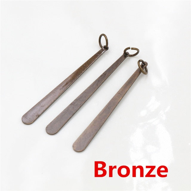 Flat Drop Strip Metal Charms, 38x4mm, Wholesale (20pc)
