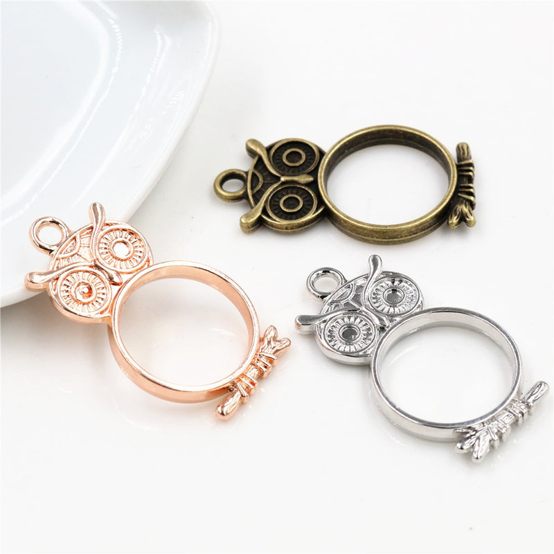 Frame Charms Hollow Glue Blank Pendant Tray Bezel Setting, Owl, Wholesale (10pcs)