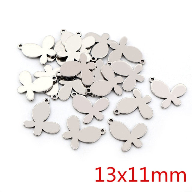 Stainless Steel Butterfly Charms, 13x11mm, Wholesale (30pcs)