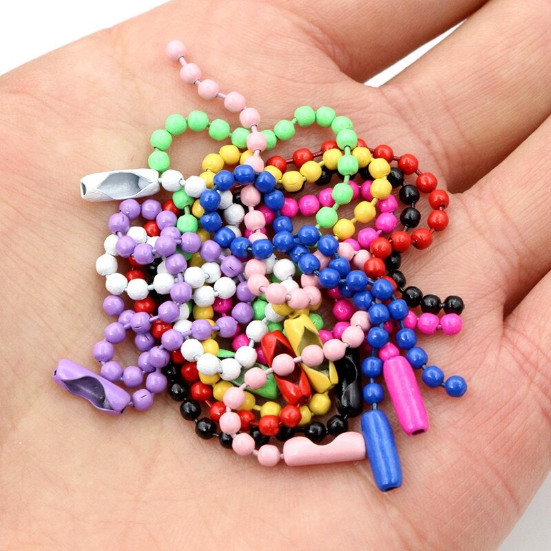 Short Chain Ball Beads 2.4mm, Length 12cm, Mixed Colors, Wholesale (50pcs)