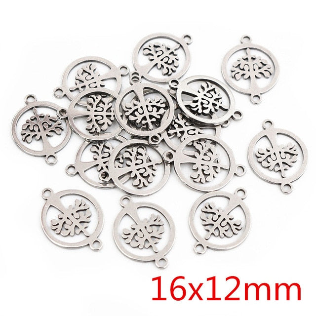 Stainless Steel Double Loop Tree Of Life Charms, 16x12mm, Wholesale (20pcs)