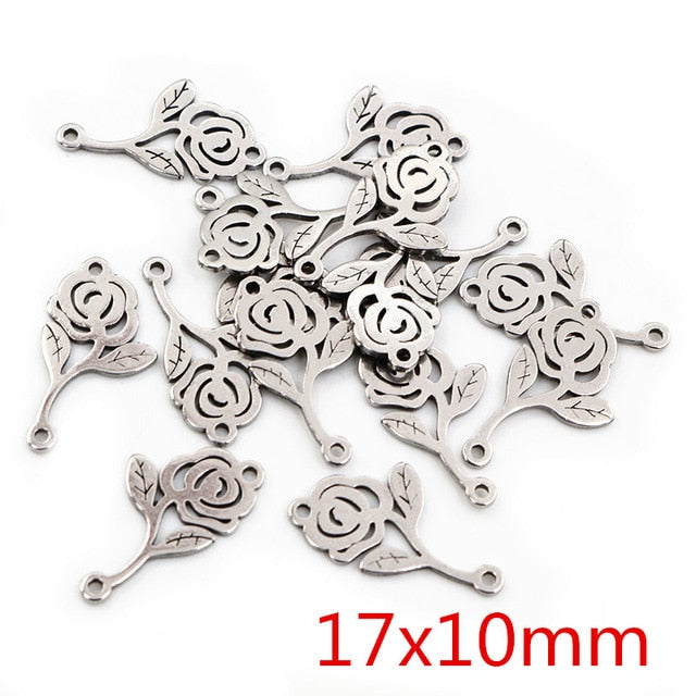 Stainless Steel Double Loop Rose Flower Charms, 17x10mm, Wholesale (20pcs)