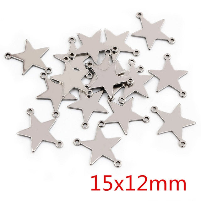 Stainless Steel Double Loop Star Charms, 15x12mm, Wholesale (20pcs)