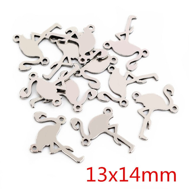 Stainless Steel Double Loop Flamingo Charms, 13x14mm, Wholesale (20pcs)