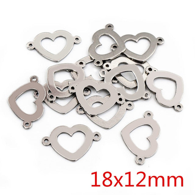 Stainless Steel Double Loop Heart Charms, 18x12mm, Wholesale (20pcs)