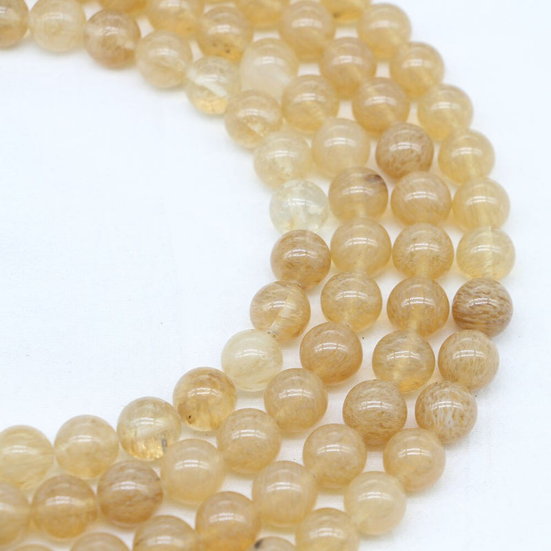 Watermelon Yellow Natural Semi Precious Stone Round Beads Wholesale