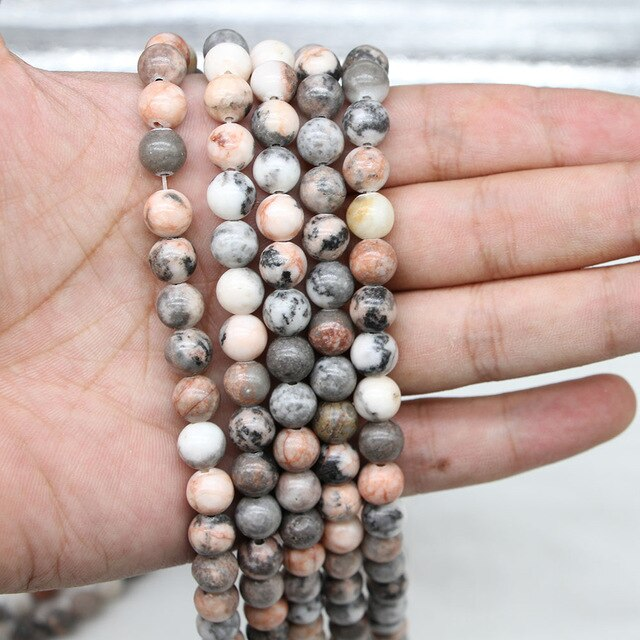Pink Zebra Jasper Natural Semi Precious Stone Round Beads Wholesale