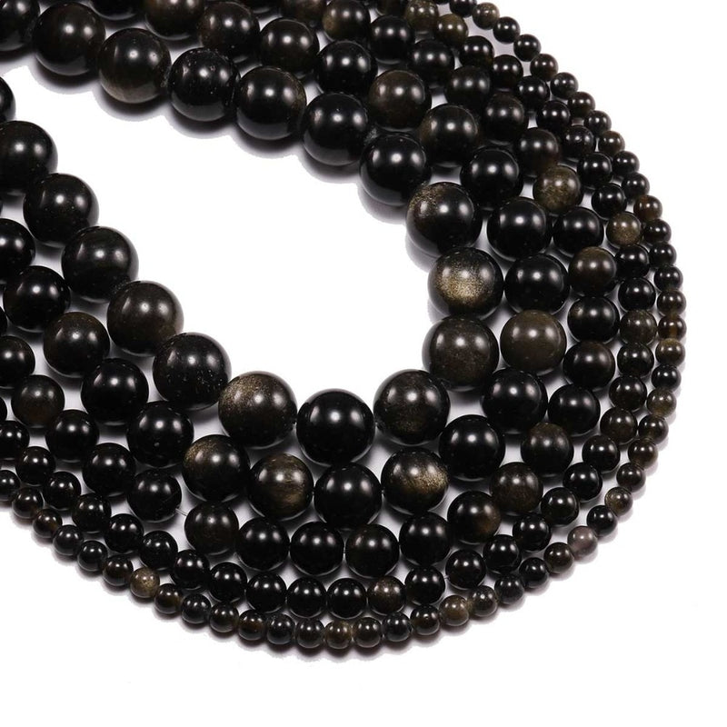 Gold Obsidian Natural Semi Precious Stone Round Beads Wholesale