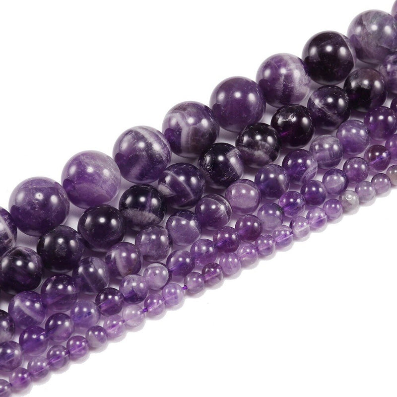 Amethyst Natural Semi Precious Stone Round Beads Wholesale