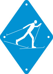 Skier Sign, Small, Plain, Blue (A1914)