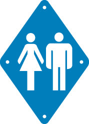 Toilet Sign, Small, Plain, Blue (A1915)