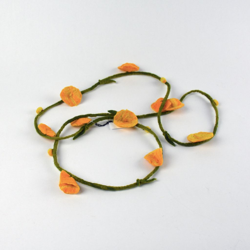 Felt Flower Necklace - Yellow