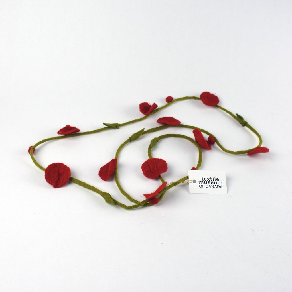Felt Flower Necklace - Red and Green