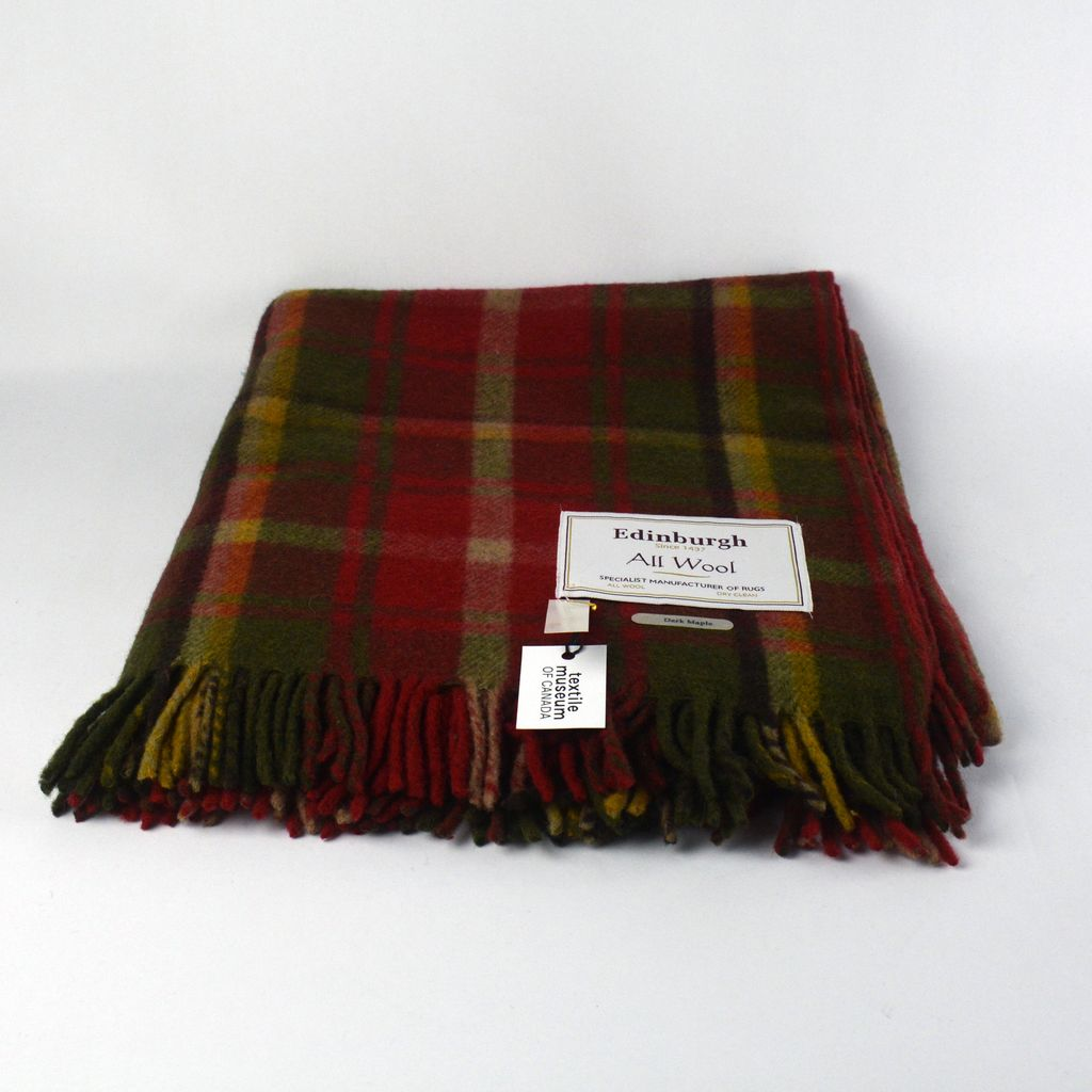 Wool Tartan Throw -  Dark Maple