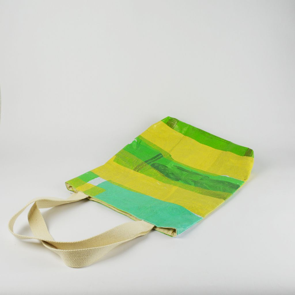 Recycled Plastic Tote Bag - Yellow and Green