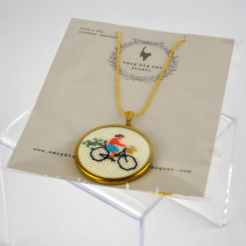 Cross Stitch Necklace – Cyclist