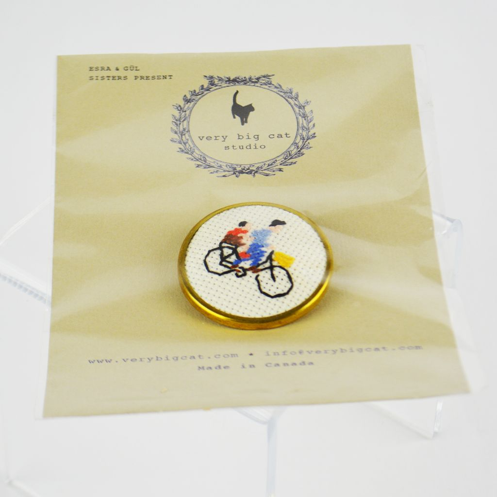 Cross Stitch Brooch – Cyclist