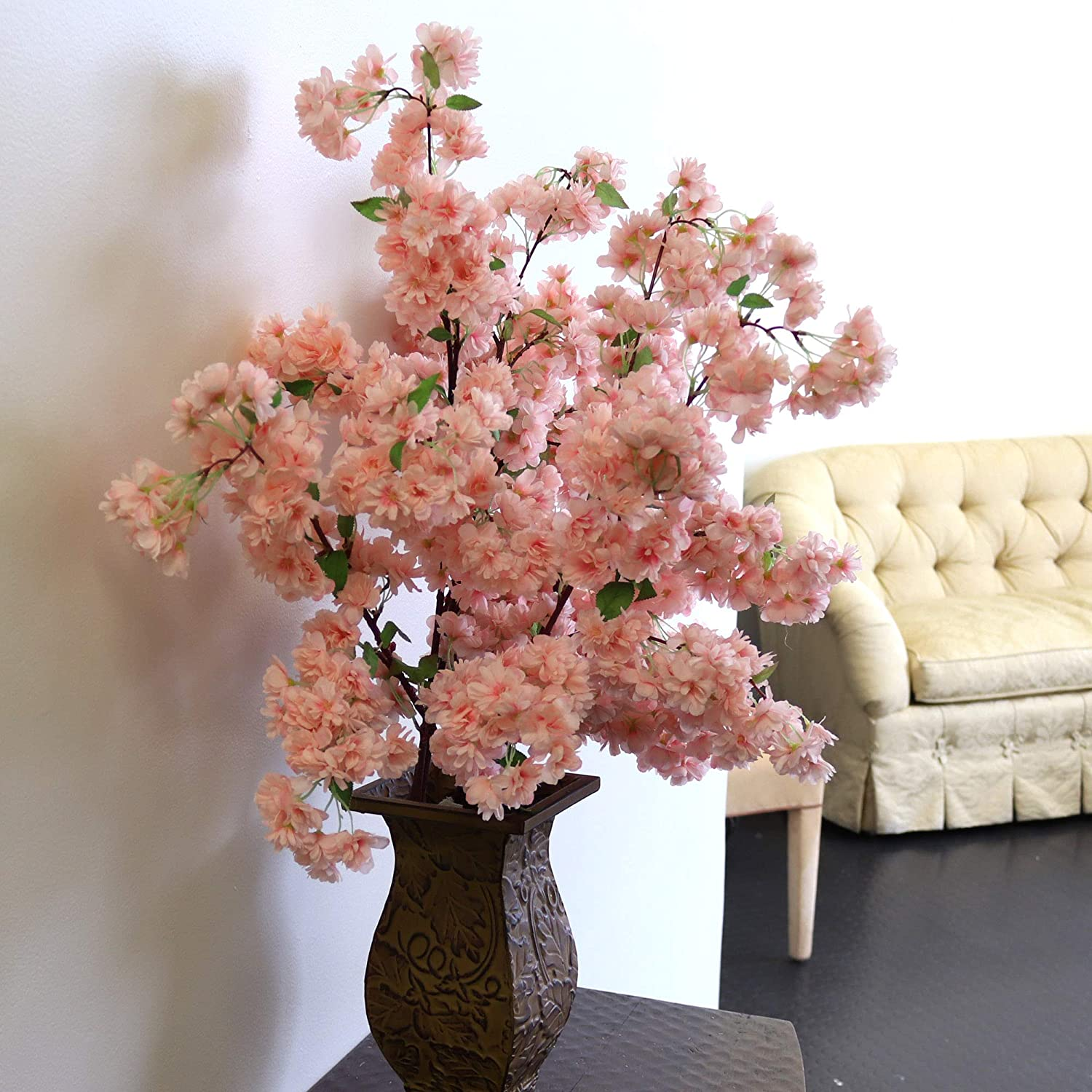 Silk Cherry Blossom Flowers, Three Pack  30 Inch Branches