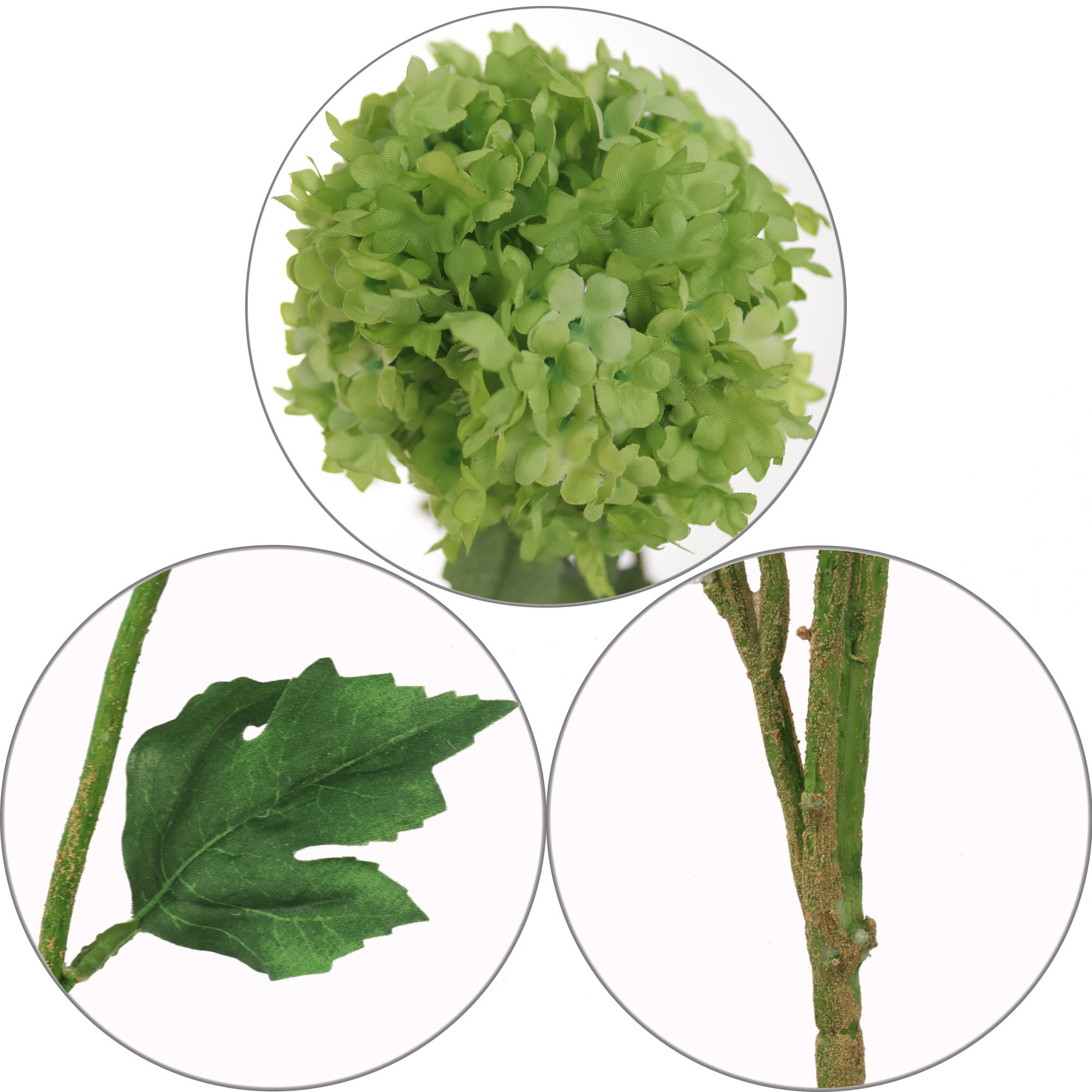 "Premium Snowball Viburnum Branch 38"" w 5 Green Flowers"