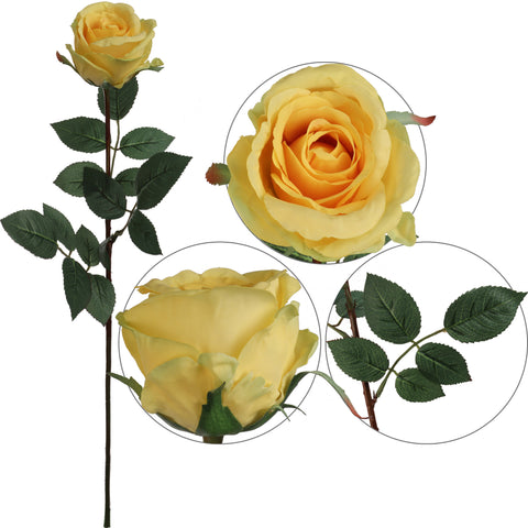 "Premium Rose Bud Yellow 30"" Long"