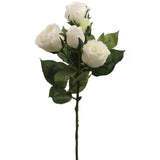 "Rose Spray White 16 "" w 4 Flowers and 1 Bud"