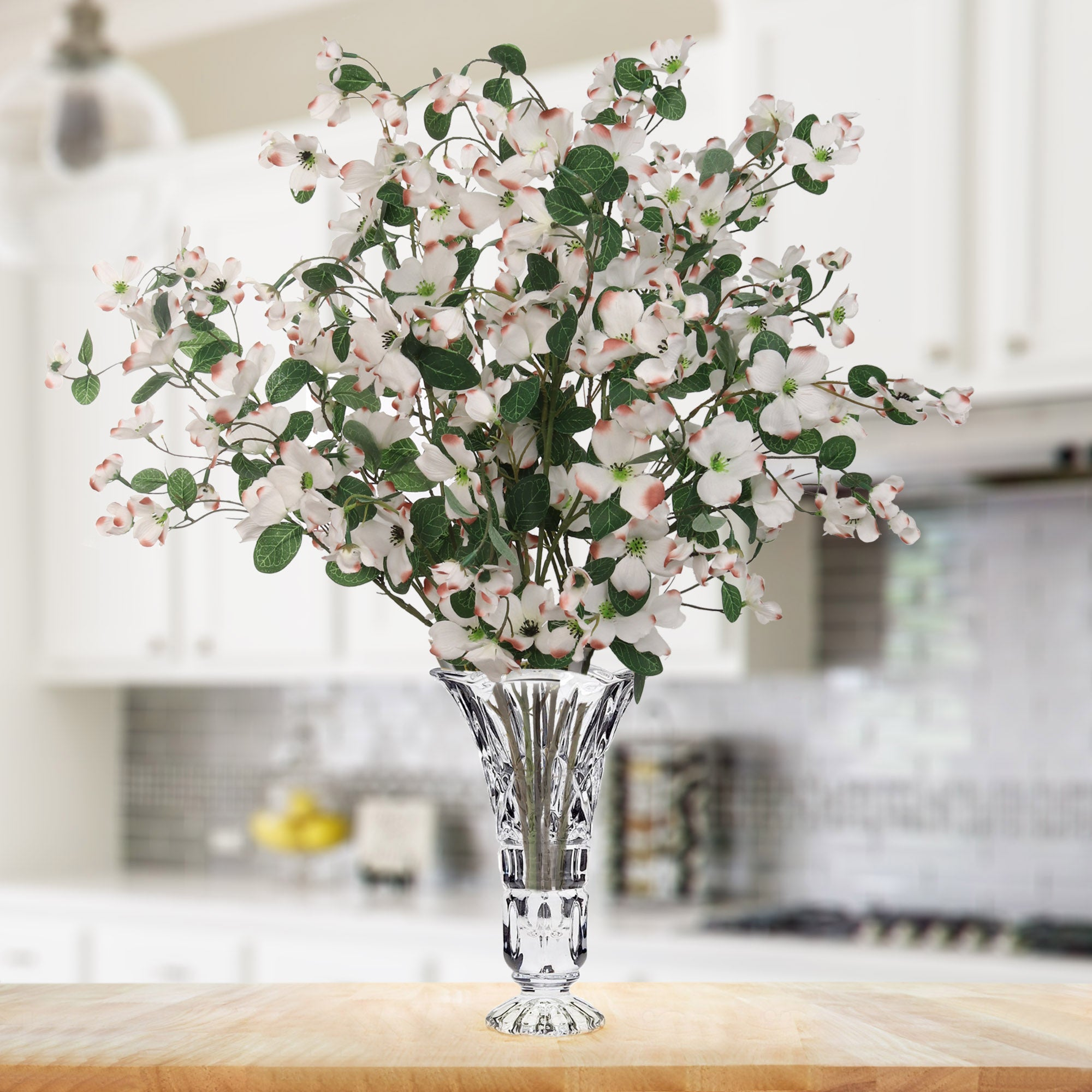 "Dogwood Branch 32"" with 24 Lifelike White Blooms"
