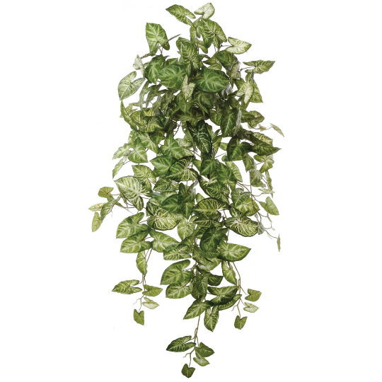 "Green White Nephthytis Ivy Artificial Plant 38"" Hanging w 196 Leaves"