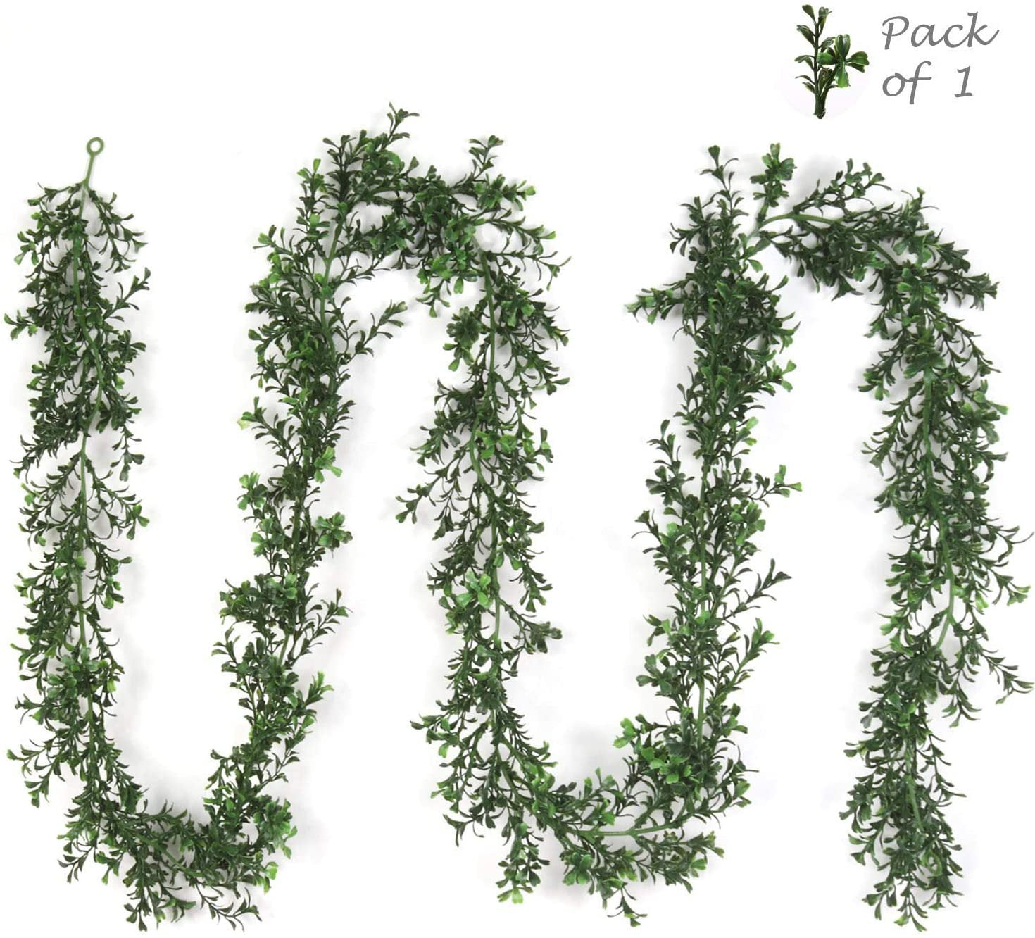 Artificial Boxwood Garland, 9' Hanging Loops Included