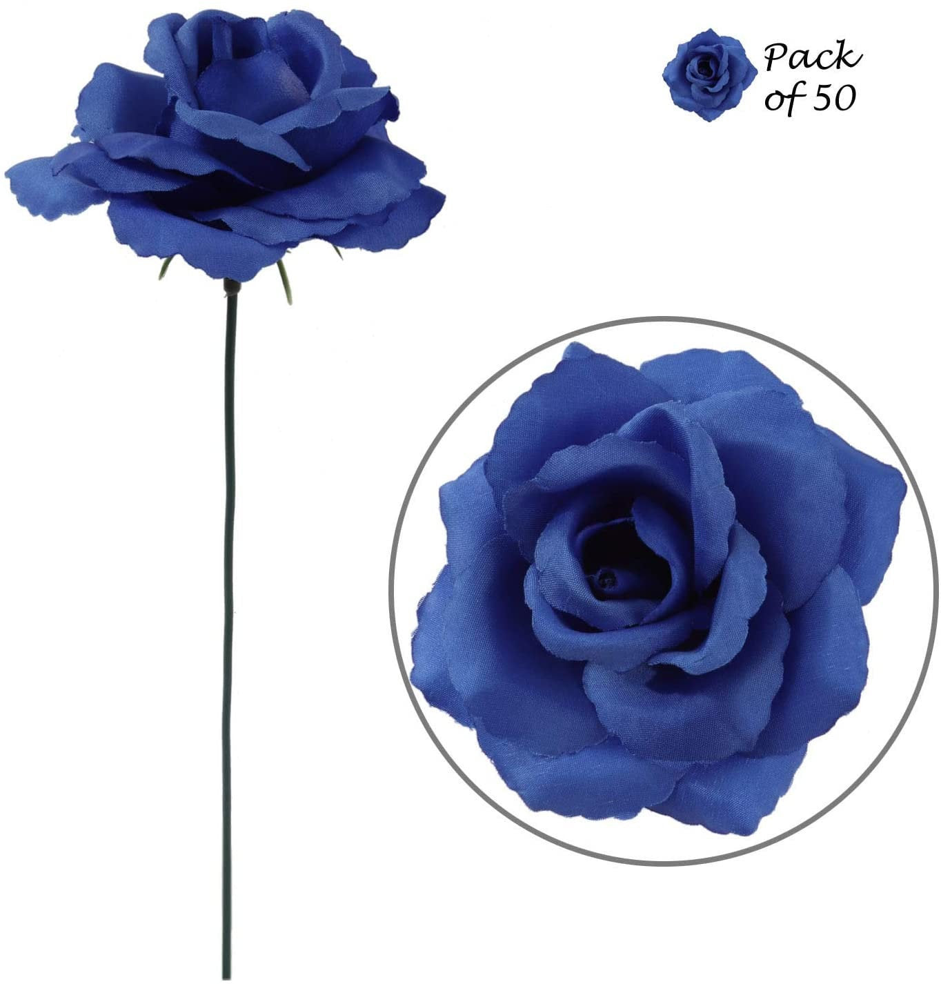 "Royal Blue Rose Pick 8"" Long 3"" Wide Box of 50"