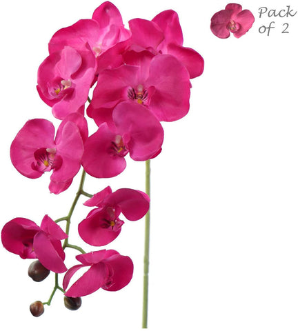 "Real Touch Silk Phalaenopsis Orchid Pack of 2 34"" 9 Flowers 3 Buds Two Pieces"