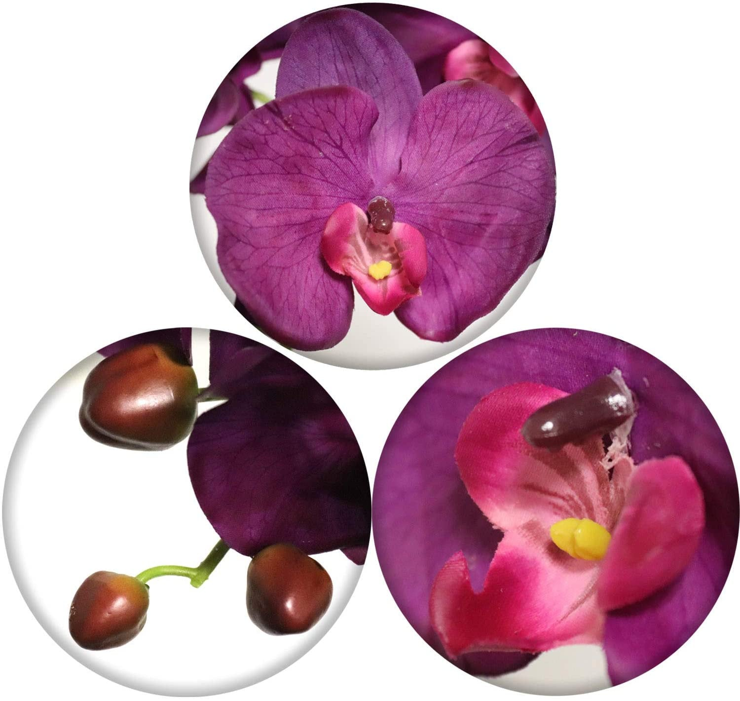 "Real Touch Silk Phalaenopsis Orchid Pack of 2 34"" 9 Flowers 3 Buds"