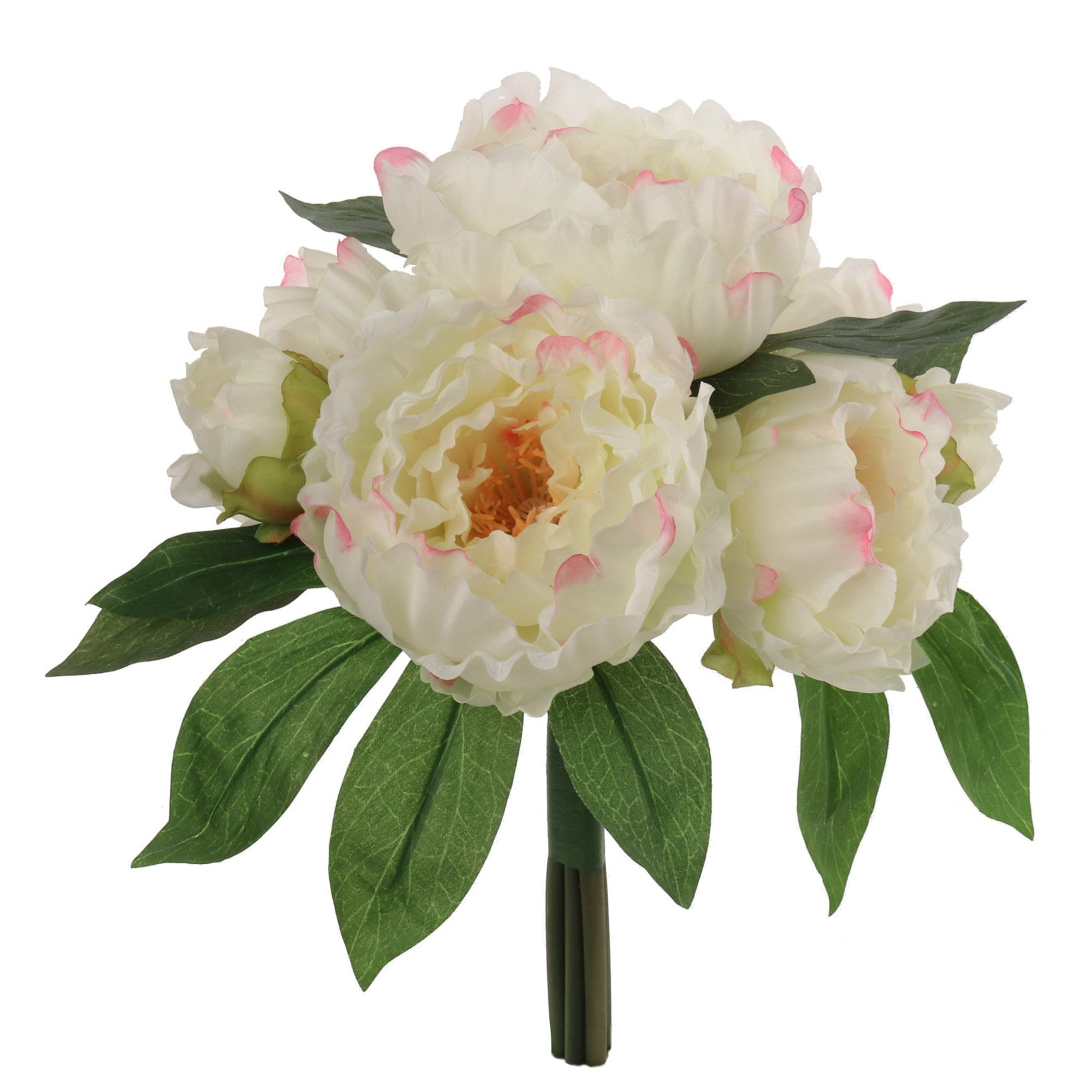 "Peony Bouquet Cream Pink 12"" with 5 Silk  Flowers and 2 Buds"