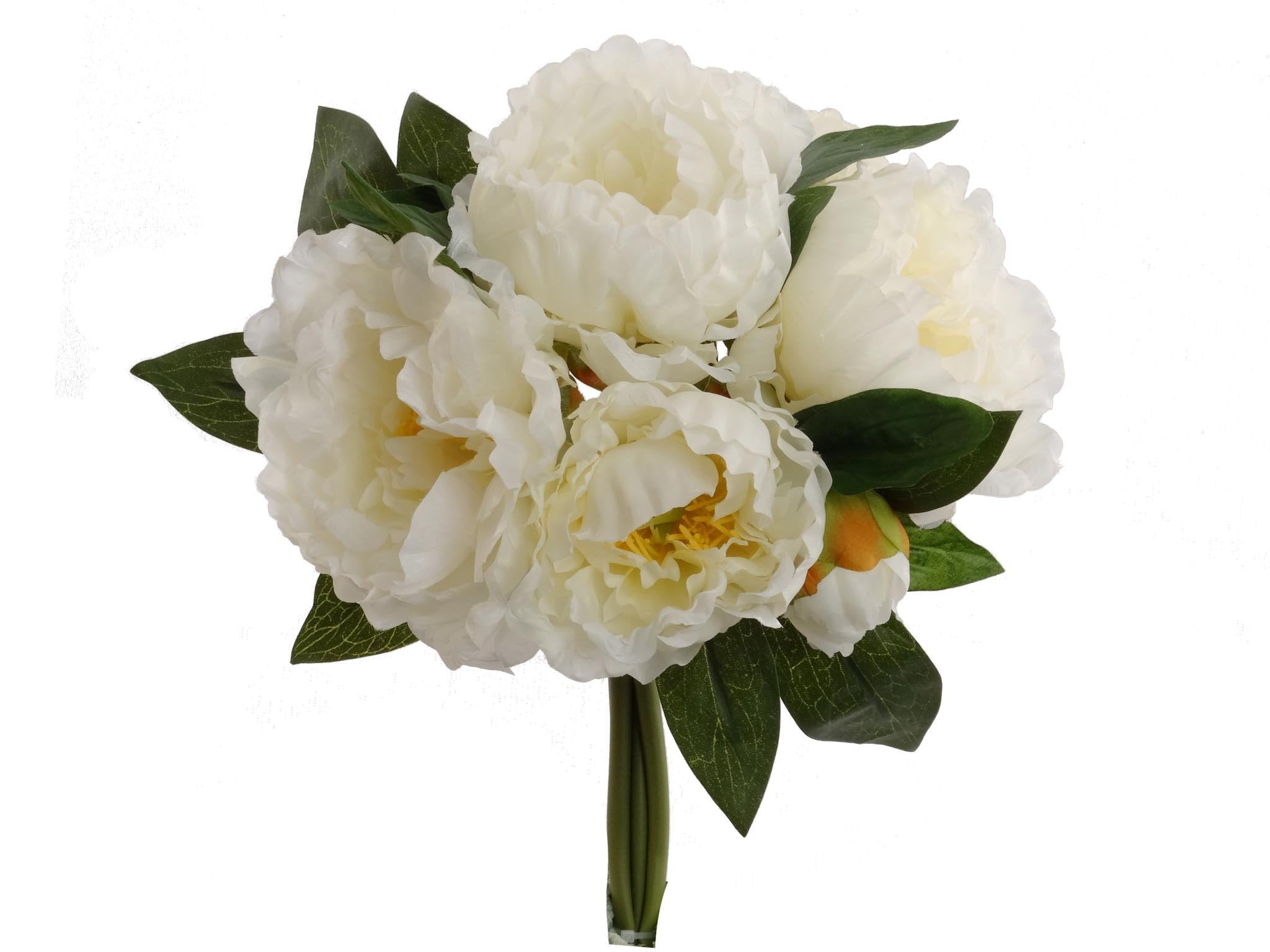 "Peony Bouquet Cream White 12"" with 5 Silk  Flowers and 2 Buds"