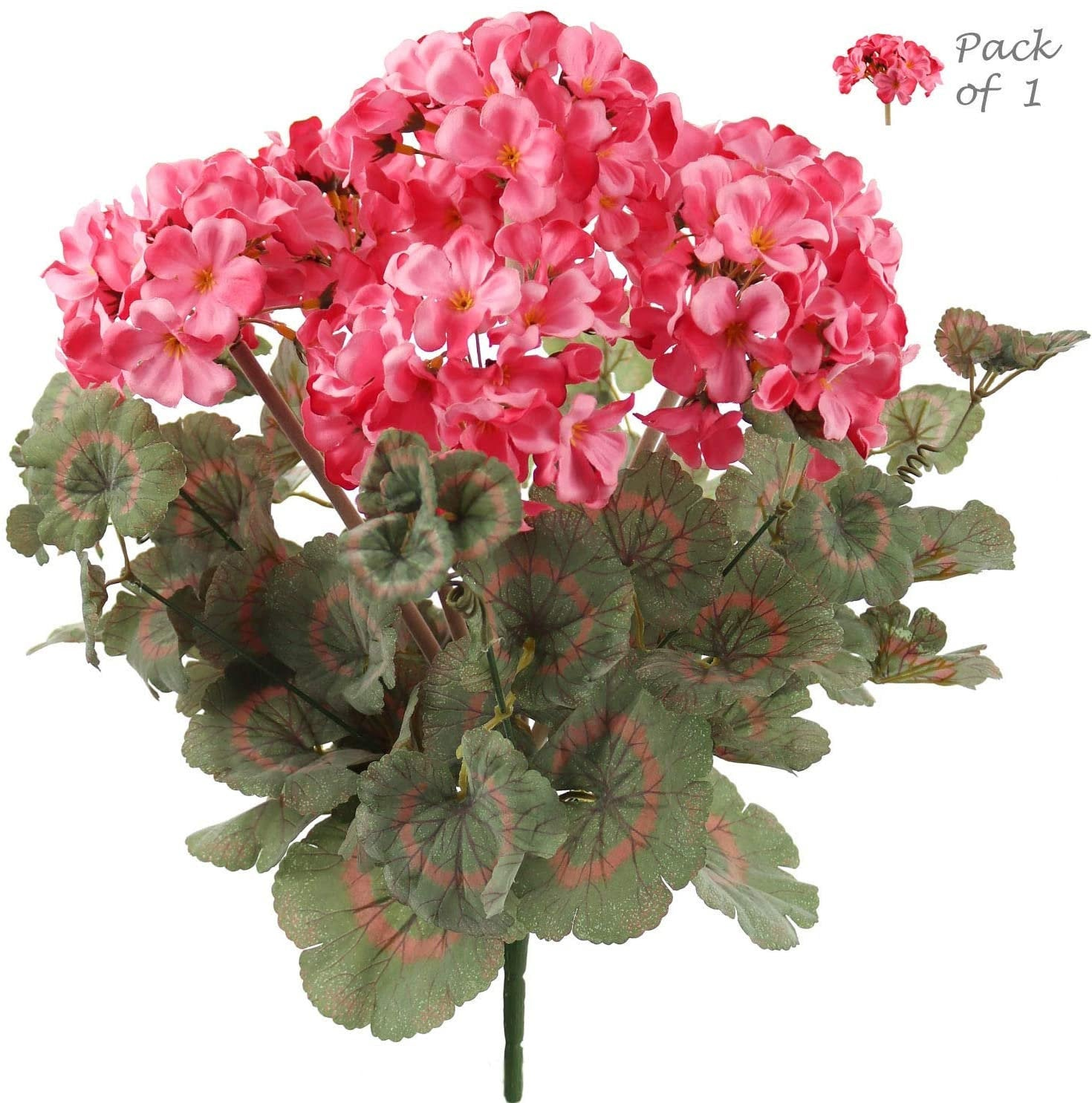 "Geranium Bush 18"" w 7 Flowering Branches"
