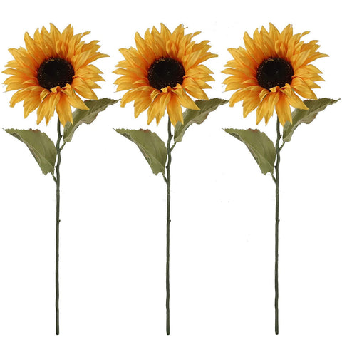 "Silk Flower 28"" Yellow Sunflower, vibrant color, realistic center, long stem with nice foliage. THREE PACK"