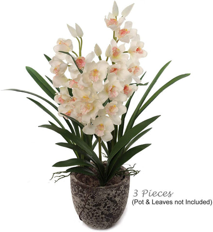 "Real Touch Silk Cymbidium Orchid 30"" Tall with 10 Flowers and 2 Buds"