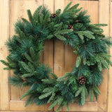 "24"" Artificial Wreath Pine W Natural Cones Indoor Outdoor Front Door Decor For Christmas Great for Windows and Walls Real Touch Feel"